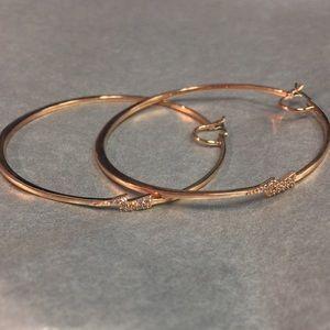 Henri Bendel Rose Gold Lightning Hoop Earrings